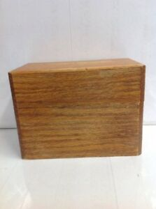 Vintage Light Oak Index Card File Box Recipe Box Dovetail