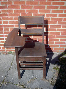 Vintage Childs Oak Wood School Desk Desk With Connected Chair