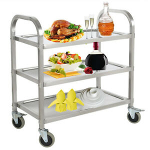 3 Tier Stainless Steel Catering Cart Rolling Serving Shelf Kitchen Restaurant