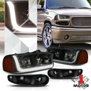 Black smoked Headlight Amber Signal Led Drl For 01 07 Gmc Sierra yukon Denali