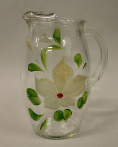 Glass Pitcher Hand Painted Flowers Vintage