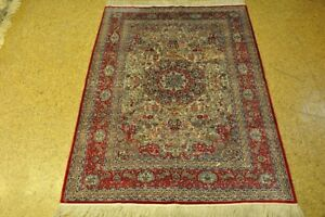 Kashan Ivory Red New Hand Knotted Carpet 4x0 Rug For Sale Silk