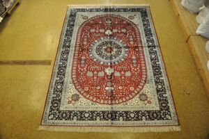 Silk Timeless Design Hand Knotted 6 X 9 Bright Red Midnight Blue Isfahan Rug