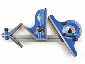 Pec 12 4r 4 Piece Combination Machinist Square With Reversing Protractor New