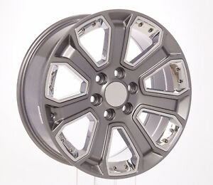 Chevy 20 Gunmetal With Chrome Wheels Rims Fits 2000 18 Silverado Tahoe Ltz Z71