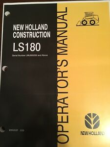 Fits New Holland Skid Steer Ls180 Owner Operator s Manual