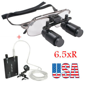6 5x 300 500mm Dental Loupes Surgical Medical Binocular With Led Head Light Lamp