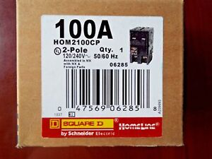 New Square D Hom2100cp Homeline 100 Amp Two Pole Circuit Breaker Freeship