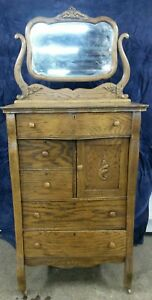 Antique Vintage Tall Oak Dresser With Mirror Oak