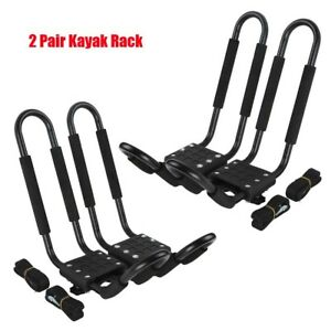 2 Pairs Kayak Carrier Rack Boat Ski Surf Roof Mount Car Cross J Bar Holder