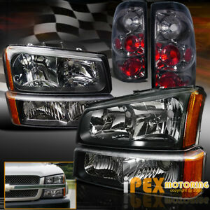 Black 2003 2006 Chevy Silverado 1500 2500 2500hd Headlights Smoke Tail Light