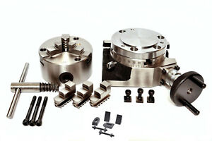 Rotary Table 4 100mm Self Centering 3 Jaw Chuck With Clamping Kit