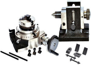 Rotary Table 4 100mm With 65mm Lathe Chuck Tailstock Clamping Kit