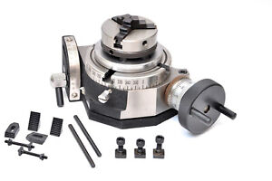 Rotary Table 4 100mm Tilting With 65mm Lathe Chuck Clamping Kit