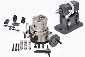 Rotary Table 4 Tilting 80 Mm Self Centering Chuck Clamping Kit Tailstock