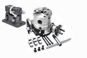 Rotary Table 4 Tilting 100 Mm Self Centering Chuck Adjustable Tailstock