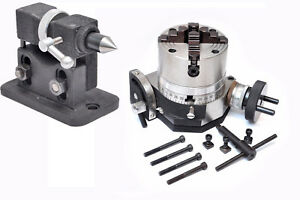 Rotary Table 4 Tilting With 100 Mm 4jaw Independent Chuck adjustable Tailstock