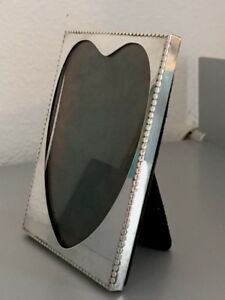 Photo Frame Heart Shaped Opening Unique Edge Design Sterling Silver Raimond