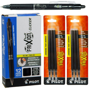 Pilot Frixion Clicker Erasable Black Gel Ink Pens 12 Pens With 2 Packs Of Refil