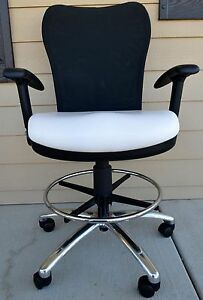 Office Drafting Chair With Feet Ring Mesh Black And White Leather Modified