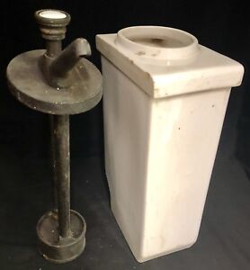 Antique 1930 Nectar Syrup Dispenser White Porcelain Soda Fountain Pump By Aet Co