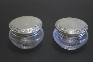 2 Vintage Wallace Sterling Silver Lidded Glass Vanity Jars Boxes