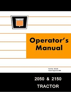 New Oliver 2050 2150 Tractor Operators Manual Reproduction