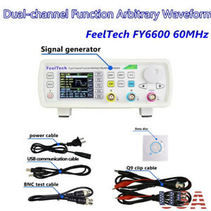 Feeltech Fy6600 Dual Channel Dds Function Signal Generator Frequency Meter 60mhz