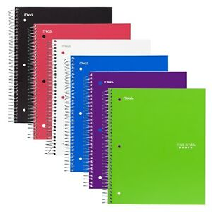 Five Star Spiral Notebooks 2 Subject College Ruled Paper 120 Sheets 9 New