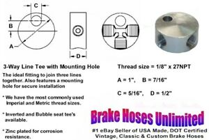 Female Brake Line Tee 1 8 X 27npt With Mounting Hole