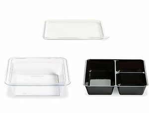 Gocubes 12 Oz Pet Container With 3 comp Black Insert And Clear Lid 50 Sets