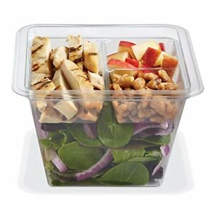 Gocubes 36 Oz Pet Container With 3 comp Clear Insert And Clear Lid 50 Sets