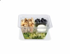 Gocubes 24 Oz Pet Container With 3 comp Clear Insert And Clear Lid 50 Sets