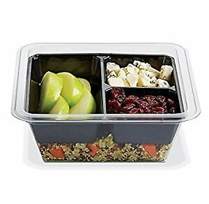 Gocubes 16 Oz Pet Container With 3 comp Black Insert And Clear Lid 100 Sets