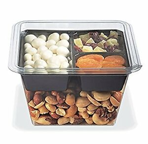 Gocubes 32 Oz Pet Container With 3 comp Black Insert And Clear Lid 100 Sets