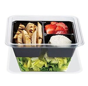 Gocubes 24 Oz Pet Container With 3 comp Black Insert And Clear Lid 50 Sets