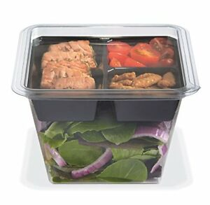 Gocubes 36 Oz Pet Container With 3 comp Black Insert And Clear Lid 50 Sets