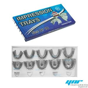 Ynr Dental Impression Trays Full Denture Perforated Set Of 10 Sml Upper Lower Ce