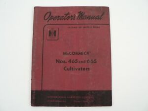 Mccormick 465 665 Cultivators Owners Manual Instructions International 1958