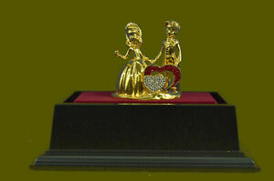 Huge Sale Statue And Figurine For Home 24k Gold With Ruby Heart Bronze Art Gift
