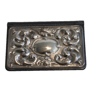 Vintage Mirror Card Case Black Leather Sterling Silver Repousse Front