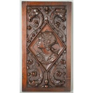 Fine Antique French Carved Walnut Architectural Salvaged Panel Of Noblewoman