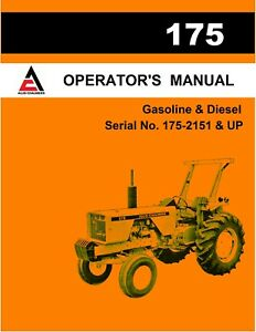 New Allis Chalmers 175 Tractor Operators Manual Reproduction