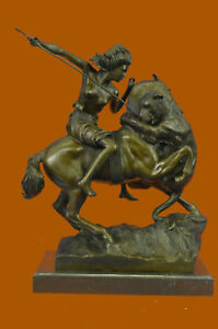 Huge Sale Female Amazon Warrior Horse Bronze Sculpture Marble Statue Figure Db
