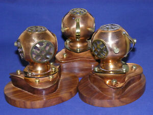 Copper Brass Divers Helmet On Wood Base New In Box Table Top Decor Each