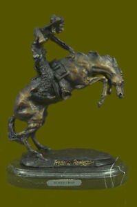Wooly Chaps By Frederic Remington Bronze Reissue Sclupture Marble Base Statue