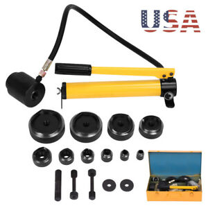 15 Ton Hydraulic Knockout Punch Driver Kit Conduit Hole Tool Hydra 10 Dies Us