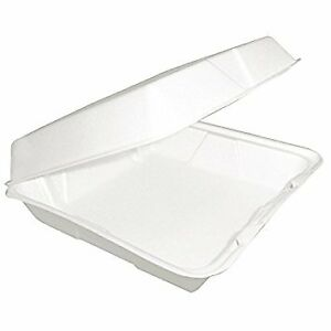 Dart 85ht1r 8x8x3 inch One Compartment Foam Containers With Hinged Lid 100