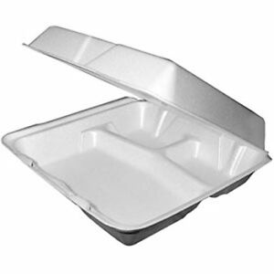 Dart 95htpf3 9x9x3 inch 3 compartment Foam Containers With Hinged Lid 100