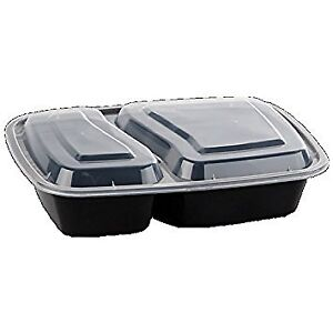 Safepro 32 Oz Black 2 compartment Microwavable Container With Lid 100
